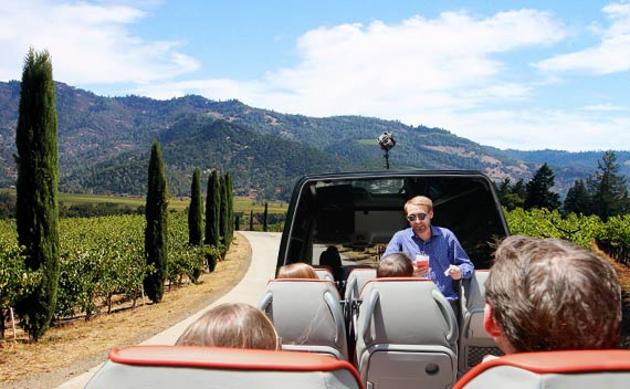Retractable Roof Open Top Sprinter - Napa Bus Tours from San Francisco